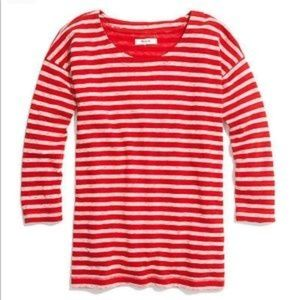 Madewell Cozy Slub Tee 3/4 sleeve red Stripe top